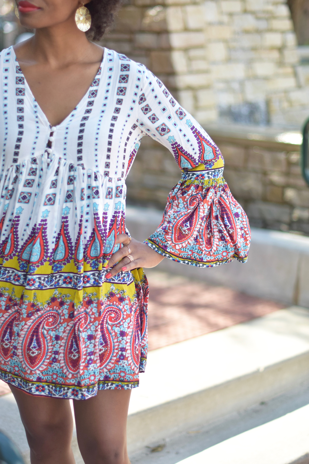 bell-sleeve-printed-dress